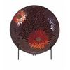 Classy Autumn Flower Mosaic Charger and Stand, Brown and Red