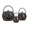 Lidded Pumpkins Shiny Black, Black, Set Of 3
