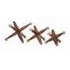 Innovative Beth Kushnick Wood and Metal Jacks, Natural Brown, Set Of 3