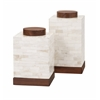 Classy Beth Kushnick Bone Canisters, Brown and off-white, Set Of 2