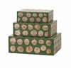 Classy Peyton Wood Disc Boxes, Green & Beige, Set Of 3