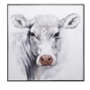 Rickey Cow Oil Painting, Black & White