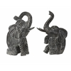 Stunning Bakari Wood Carved Elephants, Shades Of Grey, Set Of 2
