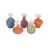 Charming Crestlin Porcelain Bottles with Flower Stoppers, Multicolor, Set Of 5