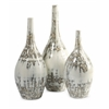 Beautiful Hampton Mexican Pottery Vases, Shades Of White, Set Of 3
