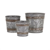 Becki Galvanized Pots, Galvanized Silver, Set Of 3