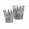 Maddy Galvanized Crowns, Galvanized Gray, Set Of 2