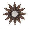 Caldwell Small Wood and Iron Wall Mirror, Dark, light Brown
