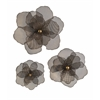 Wonderful Astaire Flower Wall Decor, Brown Shade, Set Of 3