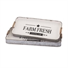 Farm Fresh Decorative Trays, White, Black, Set Of 2