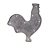Lester Lighted Rooster, Galvanized Metal