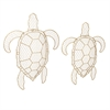 Tortuga Wire Turtle Wall Decor, Golden, Set Of 2