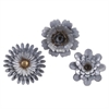 Hillary Galvanized Wall Flowers, Gold, Brow, Set Of 3