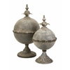 Stunning Decorative Lidded Sphere, Shades Of Grey, Set Of 2