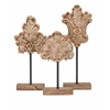 Amazing Angelil Floral Sculptures on Stands, Natural, Set Of 3