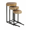 Nadera Nesting Tables, Brown and Black, Set Of Three Constructed with Acacia wood and Iron