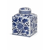 Decorative Tollmache Large Lidded Jar, White and navy blue