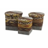 Attractive Tymon Water hyacinth Baskets with Lids, Multicolour, Set Of 3