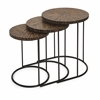 Astounding Hoki Coco Shell Tables, Shades Of Brown, Set Of 3