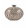 Stylish Leza Small Swirl Earthenware Vase, Cream and black