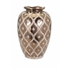 Classy Carletta Large Embossed Vase, Golden and white