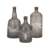 Folly Glass Bottles, Grey, Set Of 3