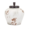 Cameo Terracotta Lidded Jar, White, Light Brown
