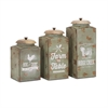 Farmhouse Lidded Canisters, Light Green, Set Of 3