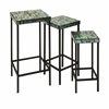 Elegant Aramis Mosaic Glass Tables, Blue and Green, Set Of 3