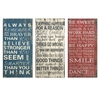 Attractive Rules of Life Wall Decor, Cherry Red, Set Of 3