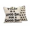 Fluffy Good Day Pillow, Black & Beige