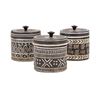 Tribal Lidded Jars - Ast 3, Taupe & Cr??�me
