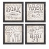 Jazzy Bath Time Wall Decor - Assorted 4, Multicolored