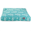 Teal Sea Horse Medium Rectangle Pet Bed