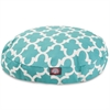 Majestic Teal Trellis Small Round Pet Bed