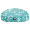 Majestic Teal Sea Horse Small Round Pet Bed