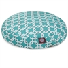 Teal Links Small Round Pet Bed