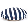 Navy Blue Vertical Stripe Large Round Pet Bed