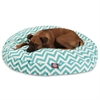 Teal Chevron Large Round Pet Bed