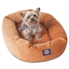 "Majestic 24"" Orange Villa Collection Micro-Velvet Bagel Bed By Majestic Pet Products"