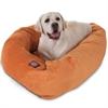 "Majestic 40"" Orange Villa Collection Micro-Velvet Bagel Bed By Majestic Pet Products"
