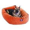 "Majestic 52"" Orange Villa Collection Micro-Velvet Bagel Bed By Majestic Pet Products"