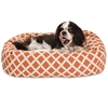 "24"" Burnt Orange Bamboo Sherpa Bagel Bed"