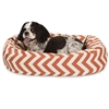 "24"" Burnt Orange Chevron Sherpa Bagel Bed"