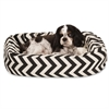 "Majestic 24"" Black Chevron Sherpa Bagel Bed"