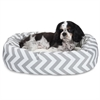 "Majestic 24"" Grey Chevron Sherpa Bagel Bed"