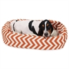 "Majestic 32"" Burnt Orange Chevron Sherpa Bagel Bed"