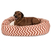 "Majestic 52"" Burnt Orange Chevron Sherpa Bagel Bed"
