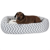 "52"" Grey Chevron Sherpa Bagel Bed"