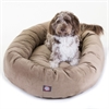 "52"" Stone Suede Bagel Dog Bed By Pet Products"